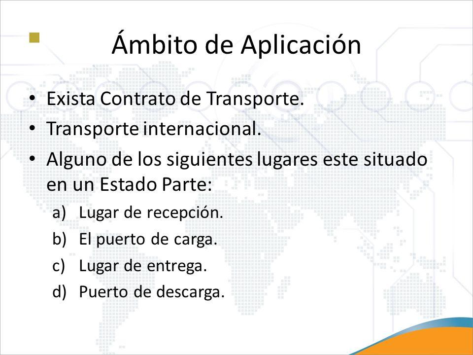 Ámbito de Aplicación Exista Contrato de Transporte. Transporte internacional. Alguno de los siguientes lugares este situado en un Estado Parte: a)Luga