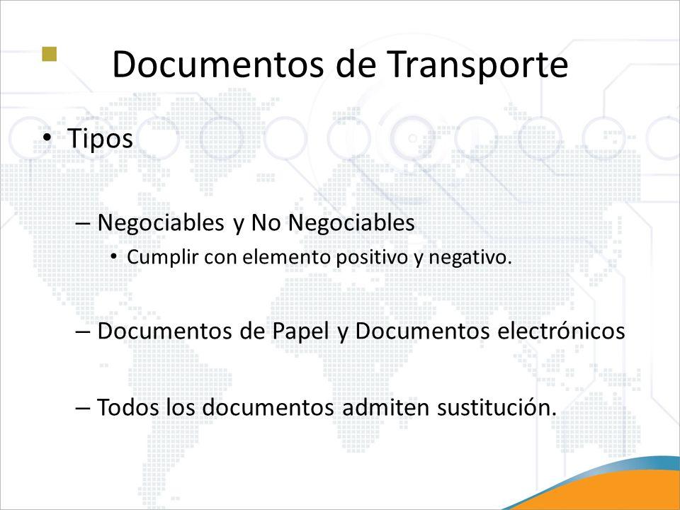 Documentos de Transporte Tipos – Negociables y No Negociables Cumplir con elemento positivo y negativo. – Documentos de Papel y Documentos electrónico
