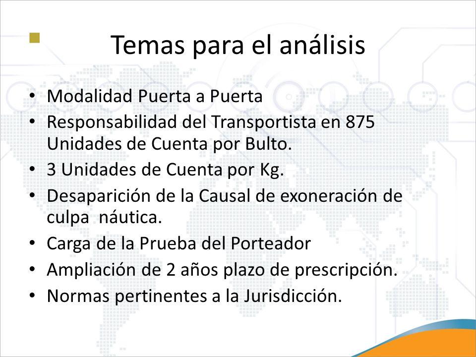 Temas para el análisis Modalidad Puerta a Puerta Responsabilidad del Transportista en 875 Unidades de Cuenta por Bulto. 3 Unidades de Cuenta por Kg. D