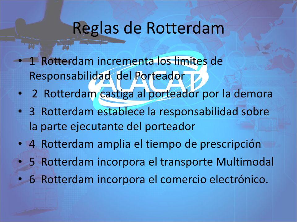 Reglas de Rotterdam 1 Rotterdam incrementa los limites de Responsabilidad del Porteador 2 Rotterdam castiga al porteador por la demora 3 Rotterdam est