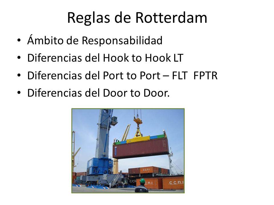 Reglas de Rotterdam Ámbito de Responsabilidad Diferencias del Hook to Hook LT Diferencias del Port to Port – FLT FPTR Diferencias del Door to Door.