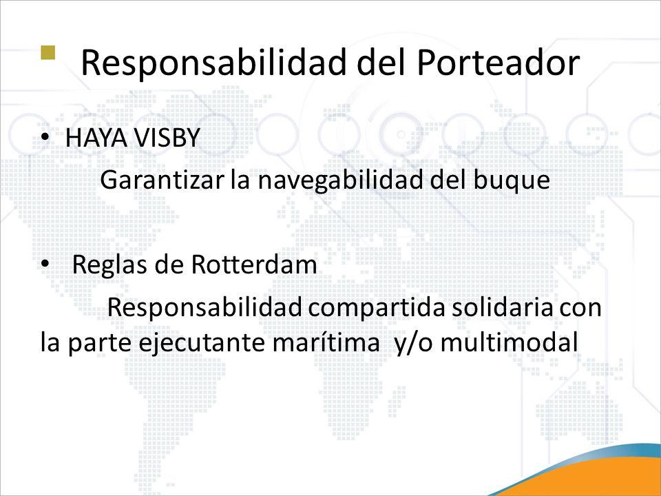 Responsabilidad del Porteador HAYA VISBY Garantizar la navegabilidad del buque Reglas de Rotterdam Responsabilidad compartida solidaria con la parte e