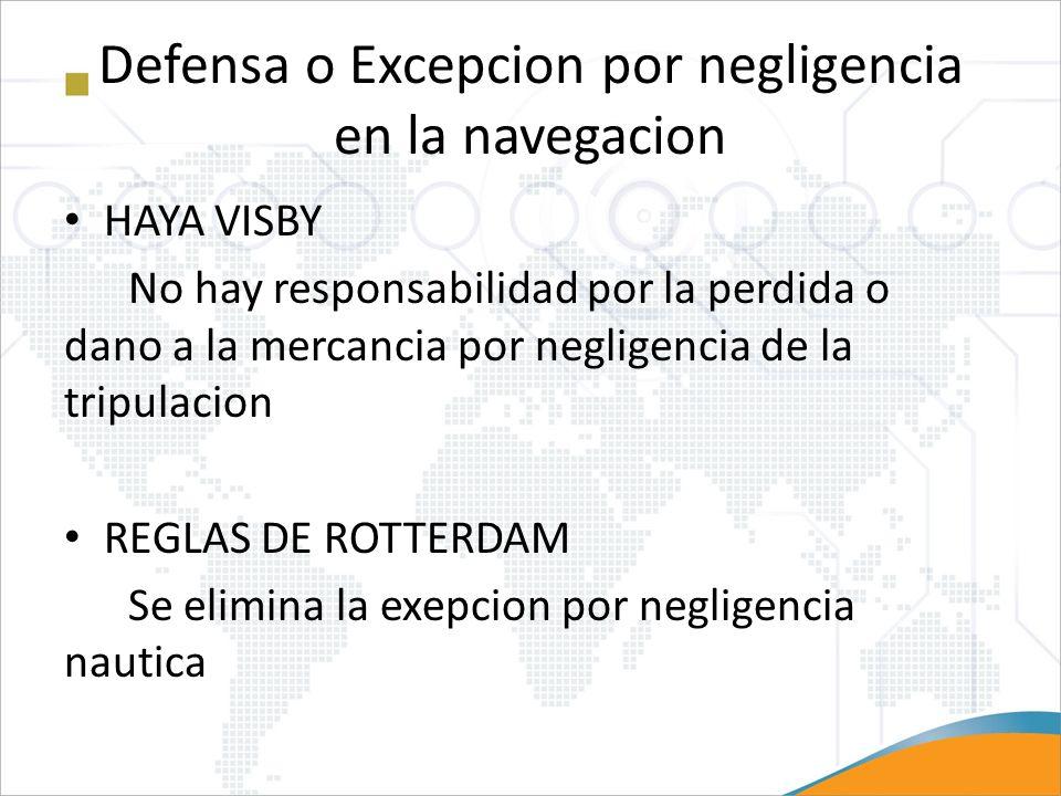 Defensa o Excepcion por negligencia en la navegacion HAYA VISBY No hay responsabilidad por la perdida o dano a la mercancia por negligencia de la trip