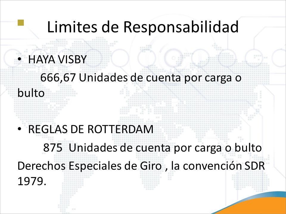 Limites de Responsabilidad HAYA VISBY 666,67 Unidades de cuenta por carga o bulto REGLAS DE ROTTERDAM 875 Unidades de cuenta por carga o bulto Derecho