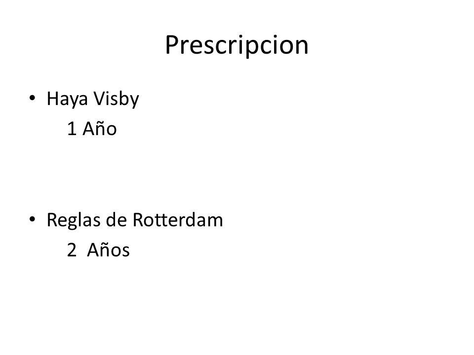 Prescripcion Haya Visby 1 Año Reglas de Rotterdam 2 Años