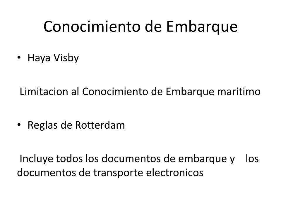 Conocimiento de Embarque Haya Visby Limitacion al Conocimiento de Embarque maritimo Reglas de Rotterdam Incluye todos los documentos de embarque y los