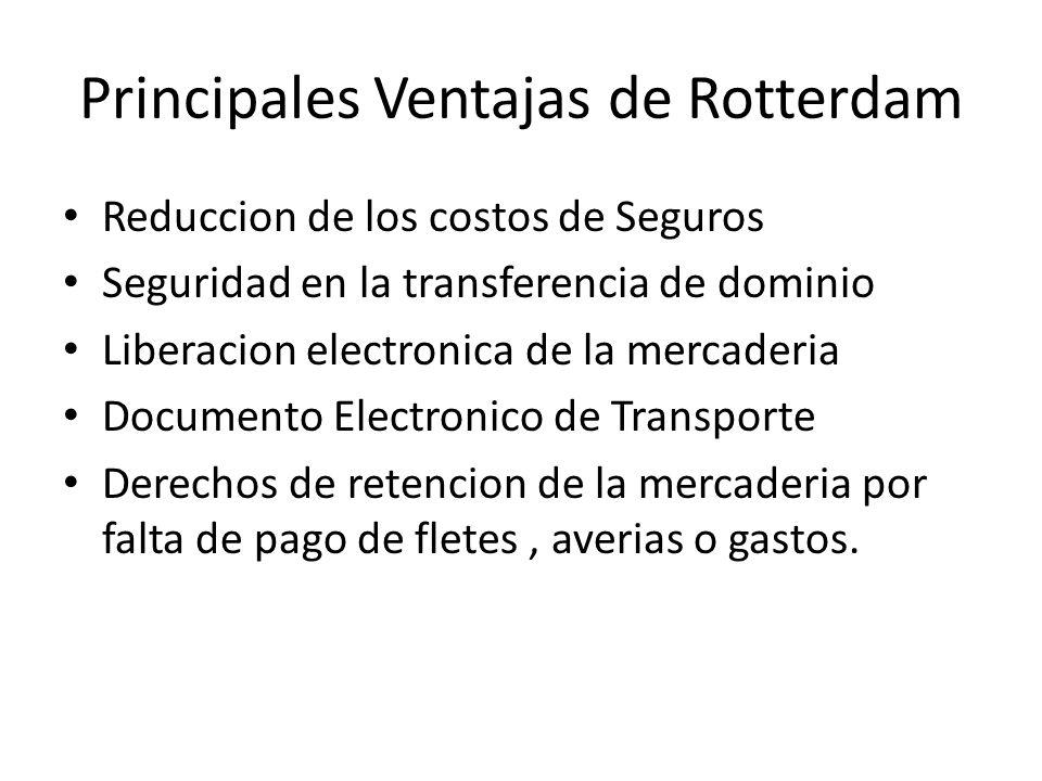 Principales Ventajas de Rotterdam Reduccion de los costos de Seguros Seguridad en la transferencia de dominio Liberacion electronica de la mercaderia