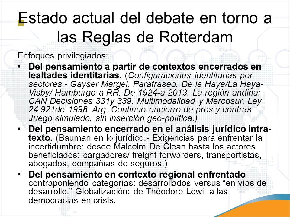 Estado actual del debate en torno a las Reglas de Rotterdam Enfoques privilegiados: Del pensamiento a partir de contextos encerrados en lealtades iden