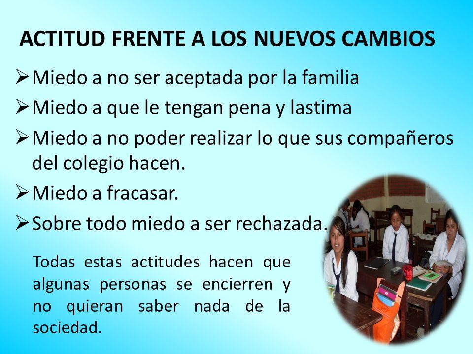 ACTITUD FRENTE A LOS NUEVOS CAMBIOS Miedo a no ser aceptada por la familia Miedo a que le tengan pena y lastima Miedo a no poder realizar lo que sus c