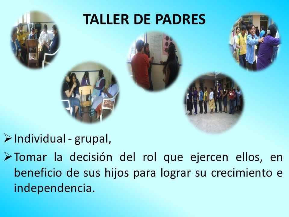 TALLER DE PADRES Individual - grupal, Tomar la decisión del rol que ejercen ellos, en beneficio de sus hijos para lograr su crecimiento e independenci