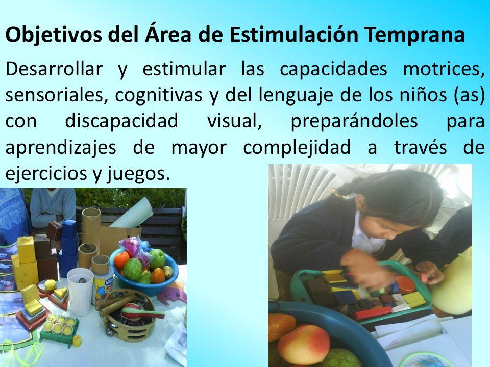 Objetivos del Área de Estimulación Temprana Desarrollar y estimular las capacidades motrices, sensoriales, cognitivas y del lenguaje de los niños (as)