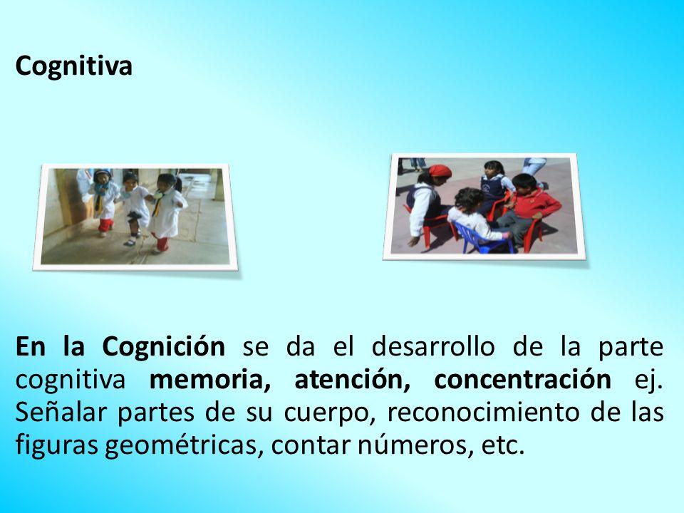 Cognitiva En la Cognición se da el desarrollo de la parte cognitiva memoria, atención, concentración ej. Señalar partes de su cuerpo, reconocimiento d