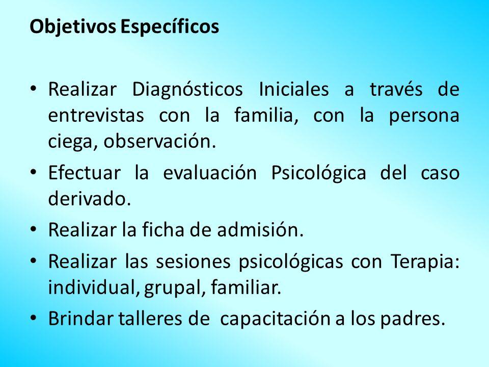 Objetivos Específicos Realizar Diagnósticos Iniciales a través de entrevistas con la familia, con la persona ciega, observación. Efectuar la evaluació