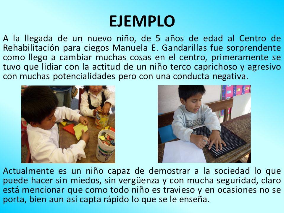 EJEMPLO A la llegada de un nuevo niño, de 5 años de edad al Centro de Rehabilitación para ciegos Manuela E. Gandarillas fue sorprendente como llego a