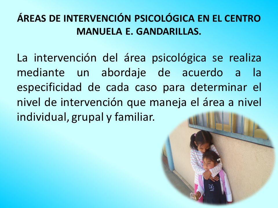 ÁREAS DE INTERVENCIÓN PSICOLÓGICA EN EL CENTRO MANUELA E. GANDARILLAS. La intervención del área psicológica se realiza mediante un abordaje de acuerdo