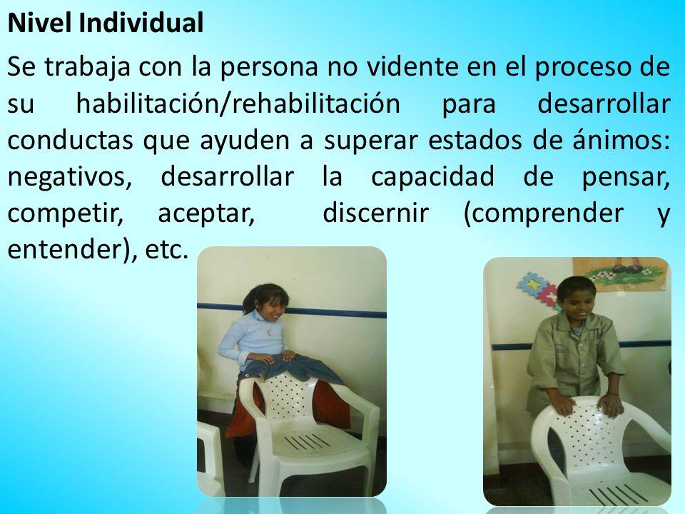 Nivel Individual Se trabaja con la persona no vidente en el proceso de su habilitación/rehabilitación para desarrollar conductas que ayuden a superar