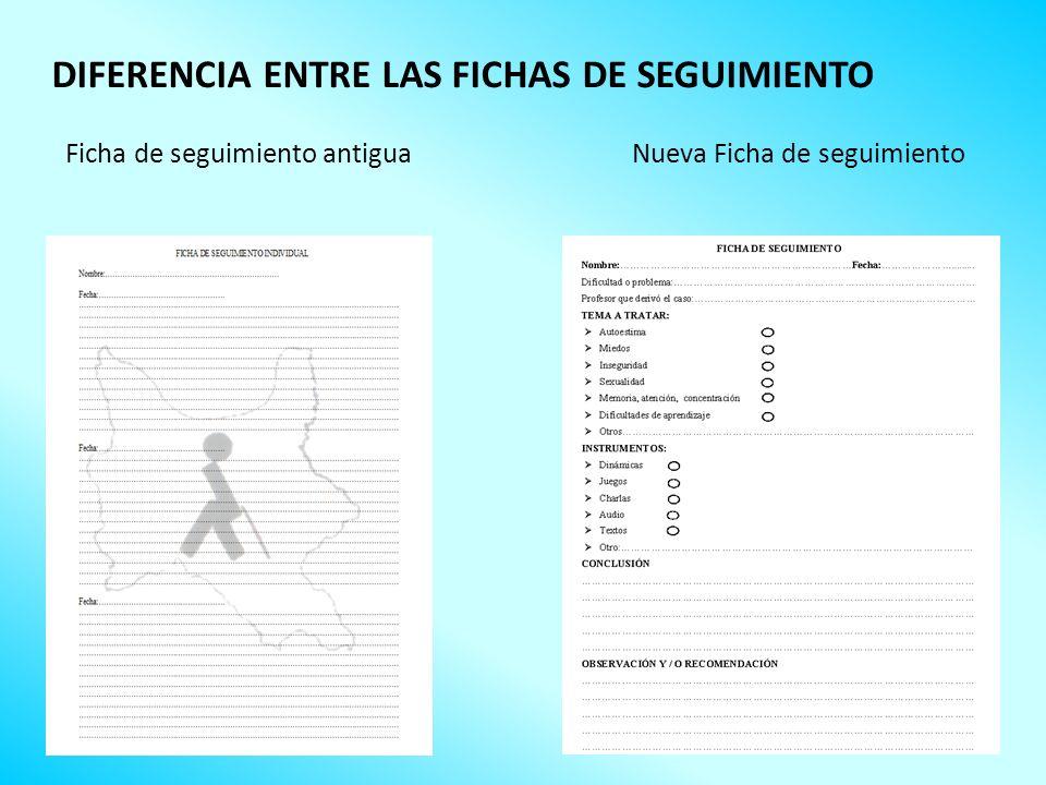 Ficha de seguimiento antiguaNueva Ficha de seguimiento DIFERENCIA ENTRE LAS FICHAS DE SEGUIMIENTO