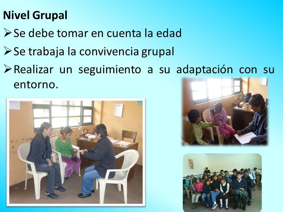 Nivel Grupal Se debe tomar en cuenta la edad Se trabaja la convivencia grupal Realizar un seguimiento a su adaptación con su entorno.