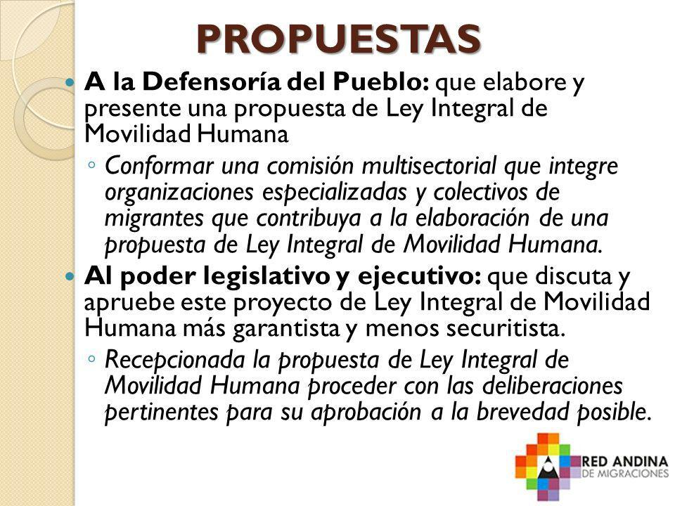 PROPUESTAS A la Defensoría del Pueblo: que elabore y presente una propuesta de Ley Integral de Movilidad Humana Conformar una comisión multisectorial
