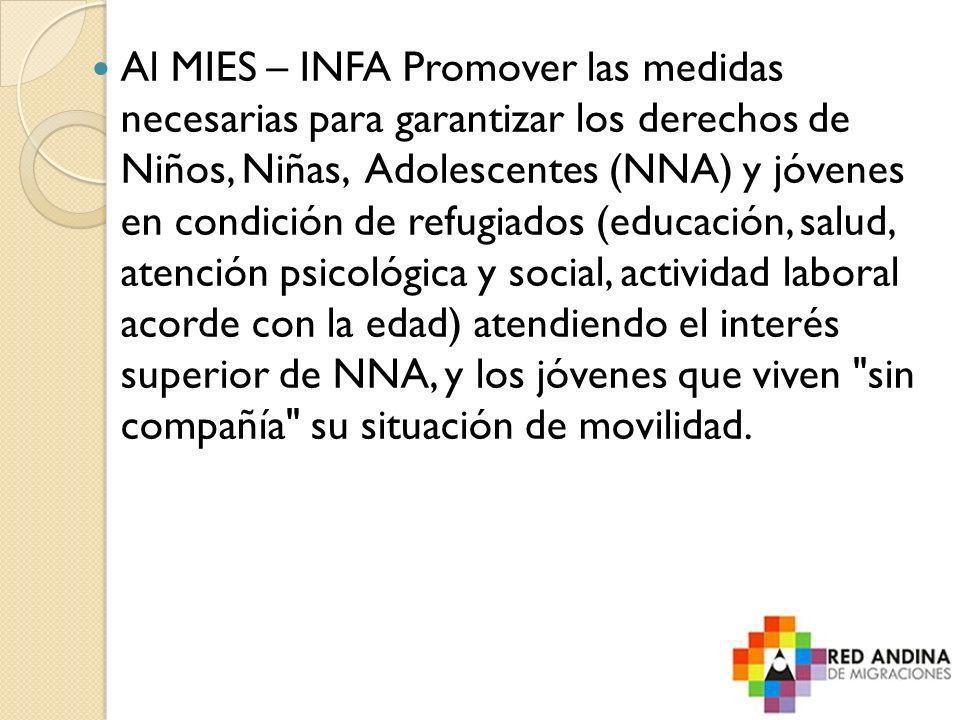 Al MIES – INFA Promover las medidas necesarias para garantizar los derechos de Niños, Niñas, Adolescentes (NNA) y jóvenes en condición de refugiados (
