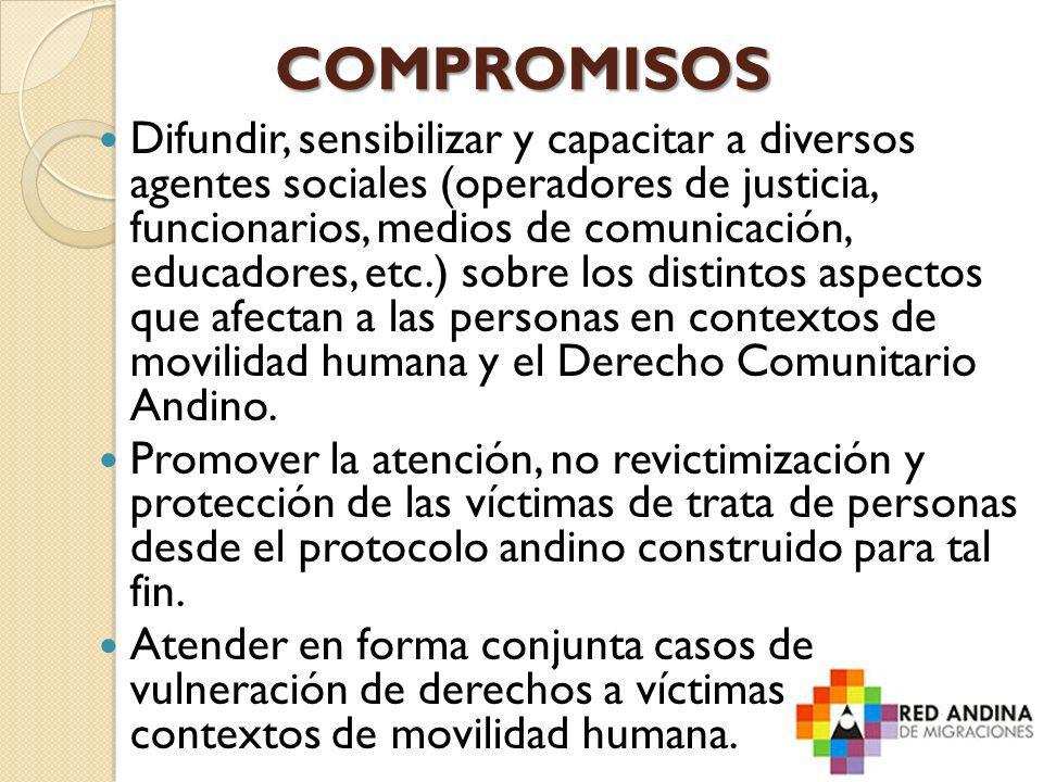 COMPROMISOS Difundir, sensibilizar y capacitar a diversos agentes sociales (operadores de justicia, funcionarios, medios de comunicación, educadores,