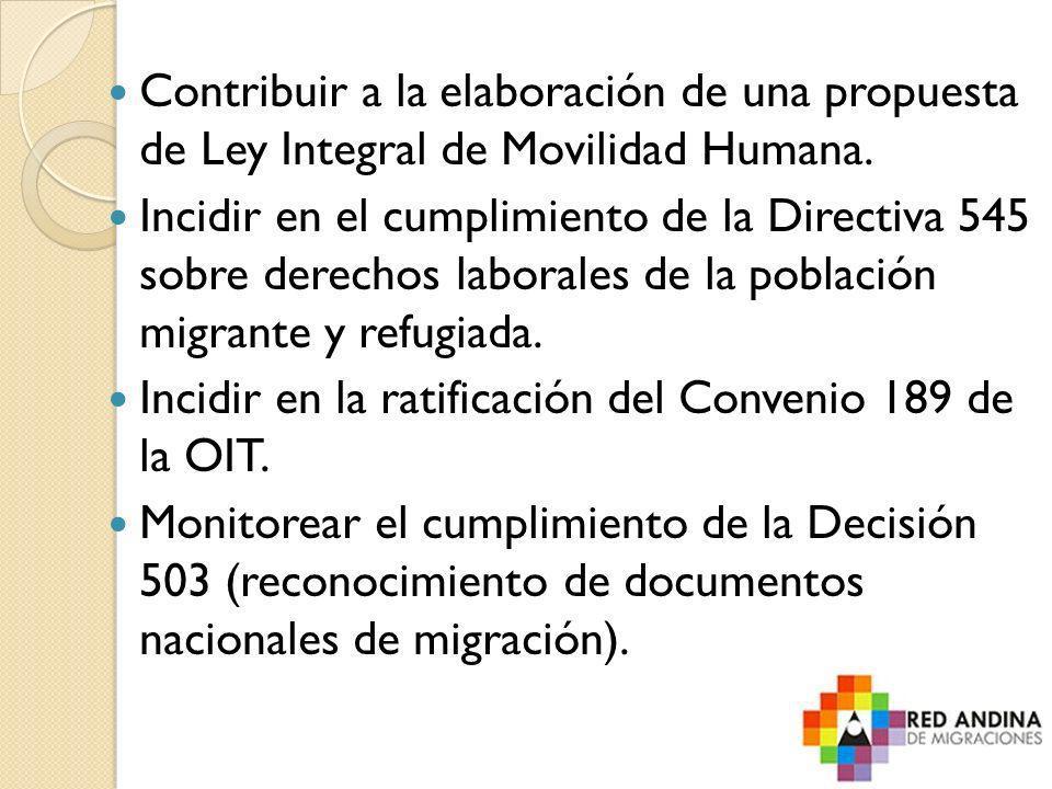 Contribuir a la elaboración de una propuesta de Ley Integral de Movilidad Humana. Incidir en el cumplimiento de la Directiva 545 sobre derechos labora