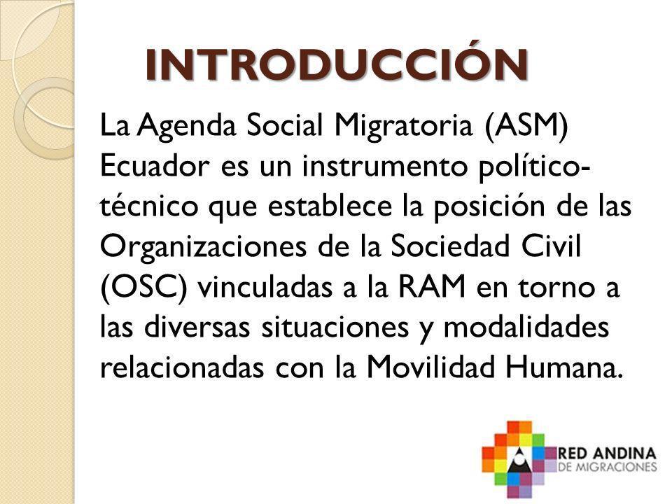 INTRODUCCIÓN La Agenda Social Migratoria (ASM) Ecuador es un instrumento político- técnico que establece la posición de las Organizaciones de la Socie