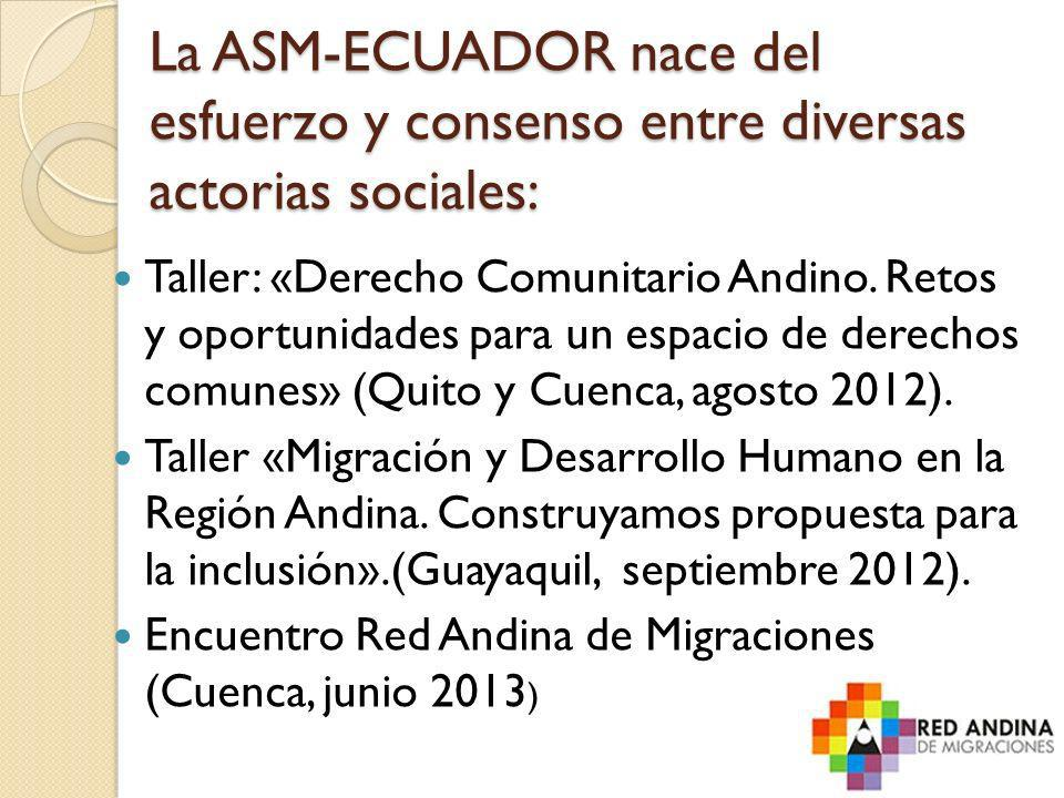 La ASM-ECUADOR nace del esfuerzo y consenso entre diversas actorias sociales: Taller: «Derecho Comunitario Andino. Retos y oportunidades para un espac