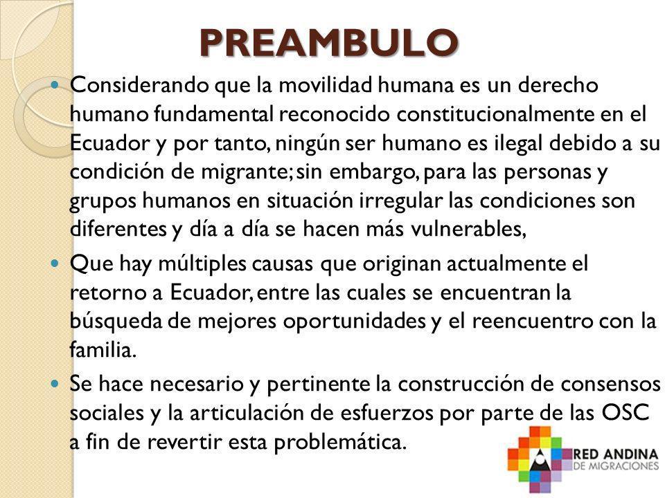 PREAMBULO Considerando que la movilidad humana es un derecho humano fundamental reconocido constitucionalmente en el Ecuador y por tanto, ningún ser h