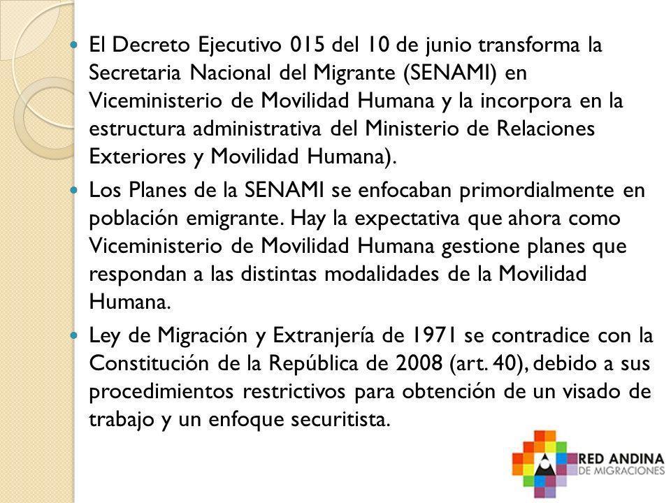 El Decreto Ejecutivo 015 del 10 de junio transforma la Secretaria Nacional del Migrante (SENAMI) en Viceministerio de Movilidad Humana y la incorpora