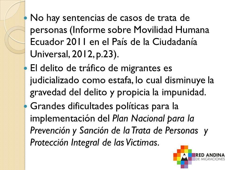 No hay sentencias de casos de trata de personas (Informe sobre Movilidad Humana Ecuador 2011 en el País de la Ciudadanía Universal, 2012, p.23). El de