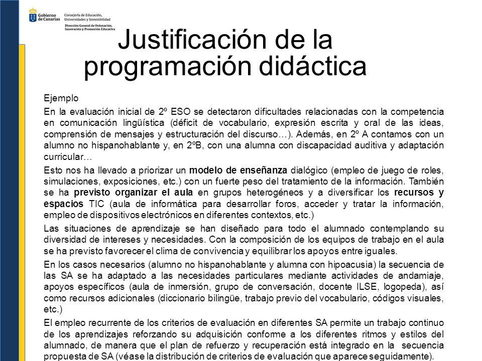 Justificación de la programación didáctica Ejemplo En la evaluación inicial de 2º ESO se detectaron dificultades relacionadas con la competencia en co