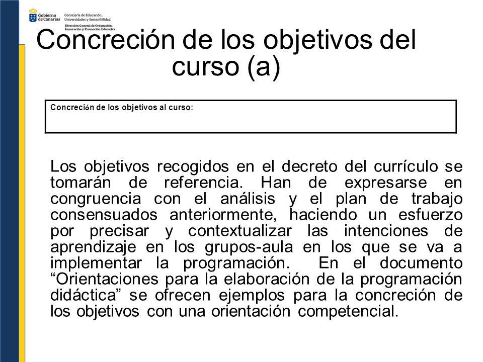 Concreción de los objetivos del curso (a) Los objetivos recogidos en el decreto del currículo se tomarán de referencia. Han de expresarse en congruenc