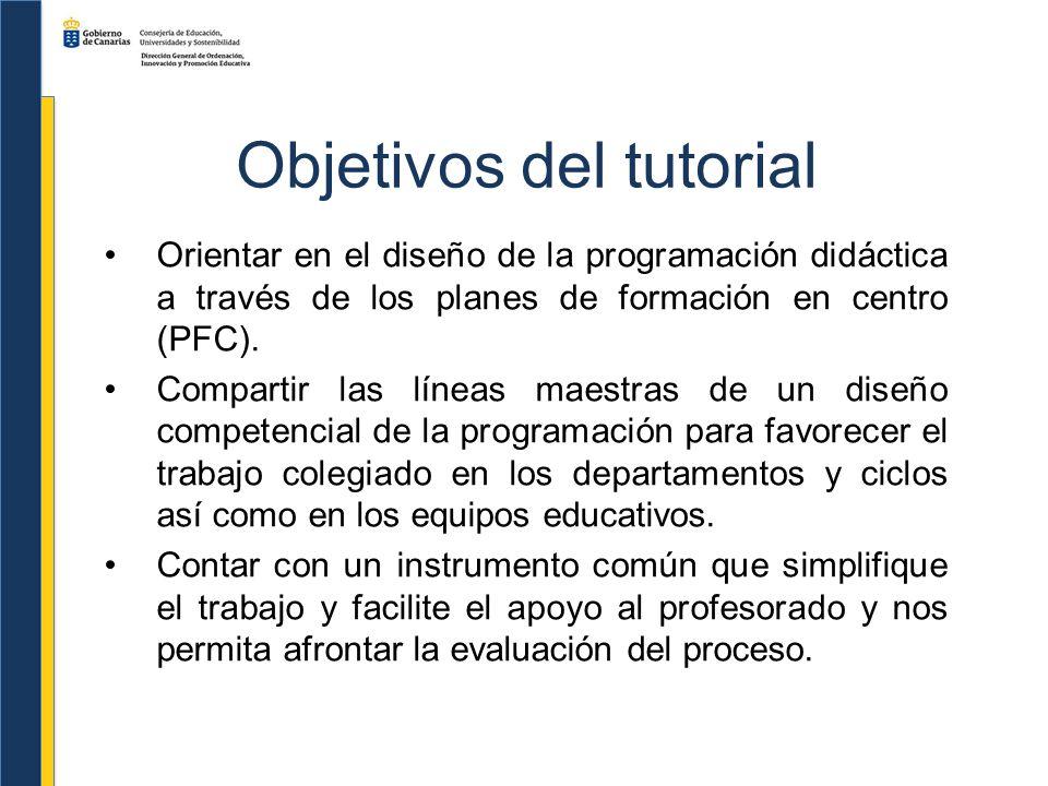 Objetivos del tutorial Orientar en el diseño de la programación didáctica a través de los planes de formación en centro (PFC). Compartir las líneas ma