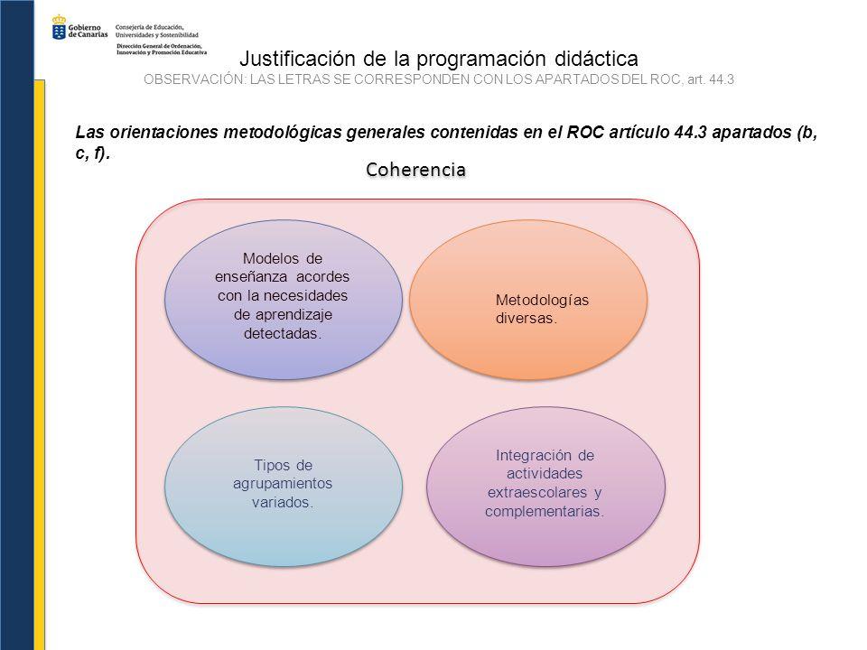 Justificación de la programación didáctica OBSERVACIÓN: LAS LETRAS SE CORRESPONDEN CON LOS APARTADOS DEL ROC, art. 44.3 Las orientaciones metodológica