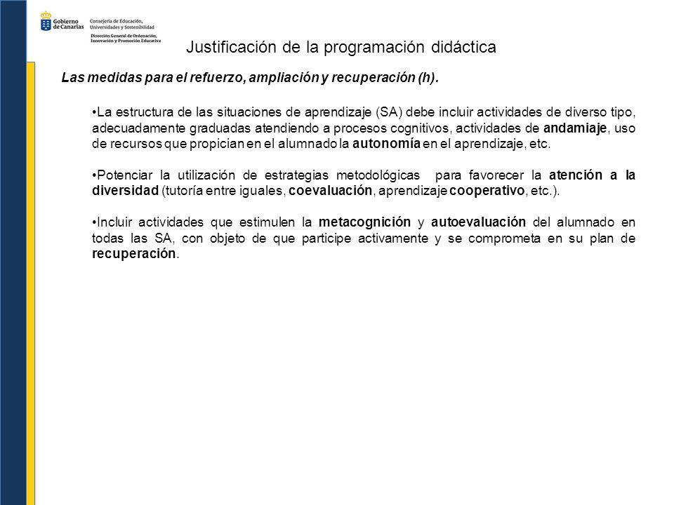 Justificación de la programación didáctica Las medidas para el refuerzo, ampliación y recuperación (h). La estructura de las situaciones de aprendizaj