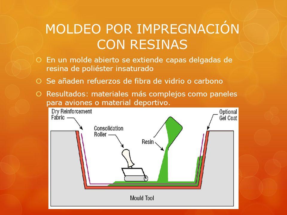 MOLDEO POR IMPREGNACIÓN CON RESINAS En un molde abierto se extiende capas delgadas de resina de poliéster insaturado Se añaden refuerzos de fibra de v