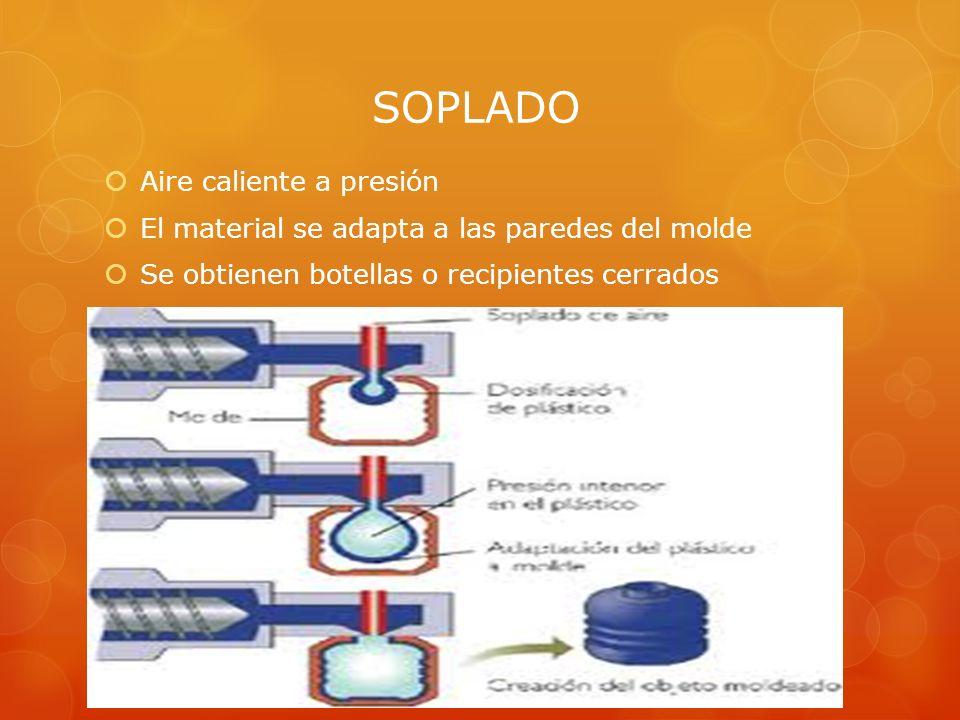 SOPLADO Aire caliente a presión El material se adapta a las paredes del molde Se obtienen botellas o recipientes cerrados