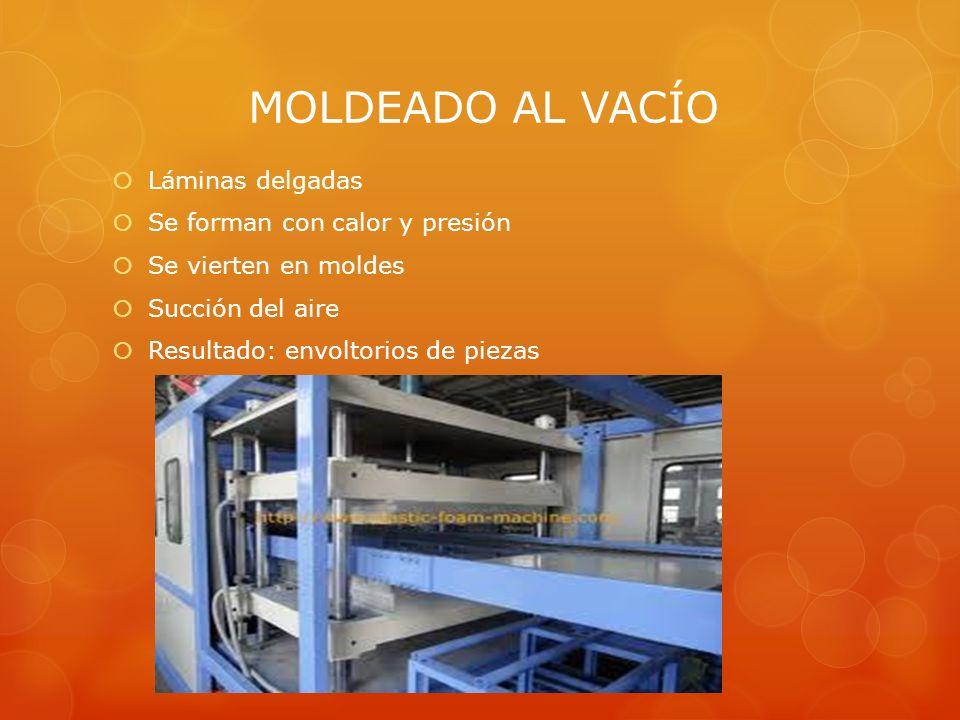 MOLDEADO AL VACÍO Láminas delgadas Se forman con calor y presión Se vierten en moldes Succión del aire Resultado: envoltorios de piezas