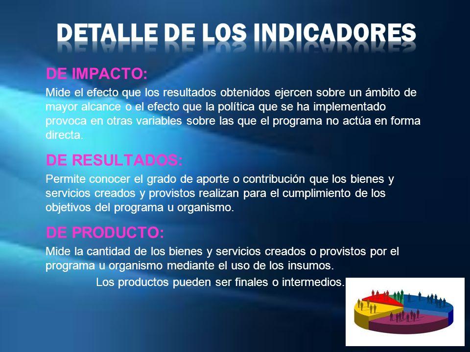 DE IMPACTO: Mide el efecto que los resultados obtenidos ejercen sobre un ámbito de mayor alcance o el efecto que la política que se ha implementado pr