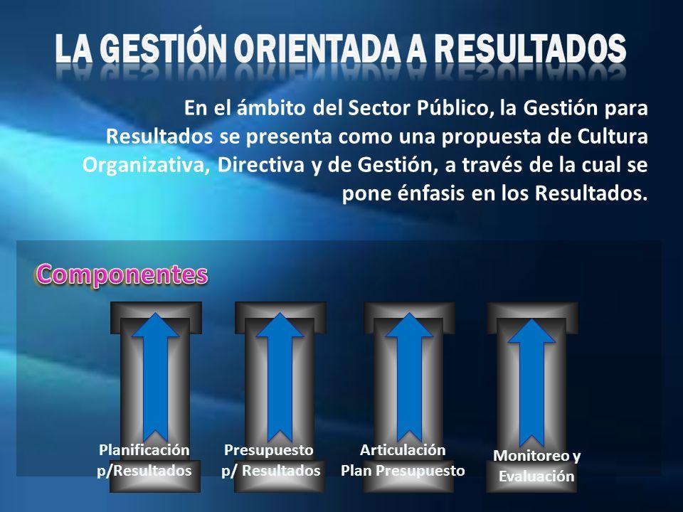 En el ámbito del Sector Público, la Gestión para Resultados se presenta como una propuesta de Cultura Organizativa, Directiva y de Gestión, a través d