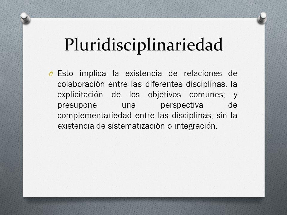 Pluridisciplinariedad O Esto implica la existencia de relaciones de colaboración entre las diferentes disciplinas, la explicitación de los objetivos c
