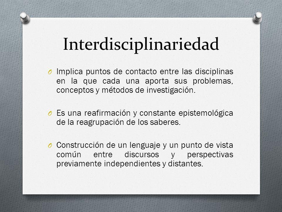 Interdisciplinariedad O Implica puntos de contacto entre las disciplinas en la que cada una aporta sus problemas, conceptos y métodos de investigación