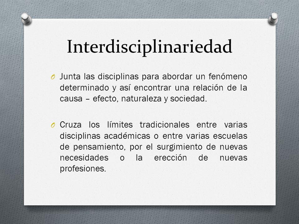 Interdisciplinariedad O Junta las disciplinas para abordar un fenómeno determinado y así encontrar una relación de la causa – efecto, naturaleza y soc