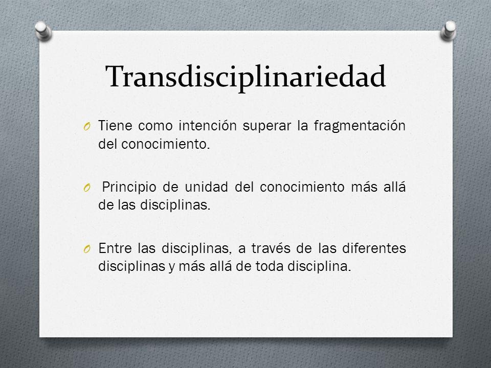 Transdisciplinariedad O Tiene como intención superar la fragmentación del conocimiento. O Principio de unidad del conocimiento más allá de las discipl