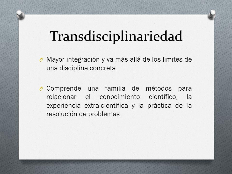 Transdisciplinariedad O Mayor integración y va más allá de los límites de una disciplina concreta. O Comprende una familia de métodos para relacionar