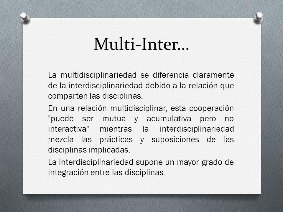 Multi-Inter… La multidisciplinariedad se diferencia claramente de la interdisciplinariedad debido a la relación que comparten las disciplinas. En una