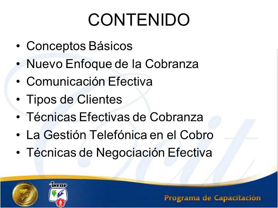 CONTENIDO Conceptos Básicos Nuevo Enfoque de la Cobranza Comunicación Efectiva Tipos de Clientes Técnicas Efectivas de Cobranza La Gestión Telefónica