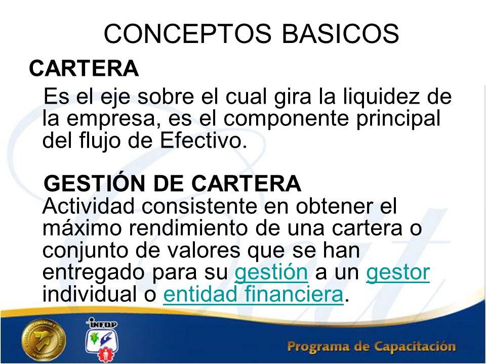 CONCEPTOS BASICOS CARTERA Es el eje sobre el cual gira la liquidez de la empresa, es el componente principal del flujo de Efectivo. GESTIÓN DE CARTERA