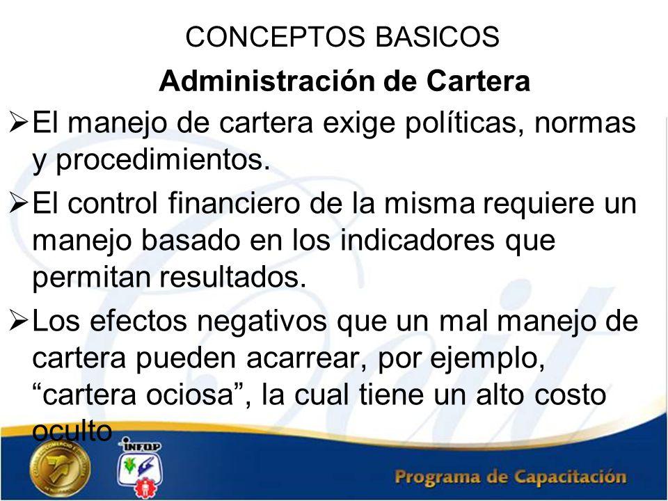 Administración de Cartera El manejo de cartera exige políticas, normas y procedimientos. El control financiero de la misma requiere un manejo basado e